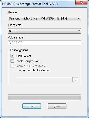 форматирование флешки HP USB Disk Storage