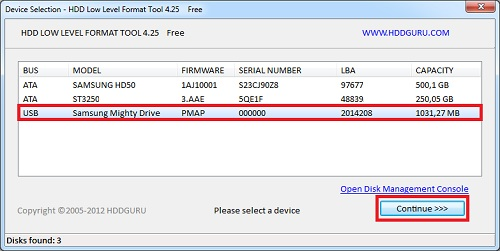 форматирование с HDD Low Level Format Tool