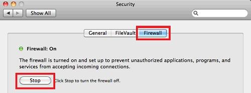 отключить фаервол в Mac