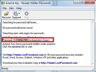 как узнать пароль под звездочками в Asterisk Key