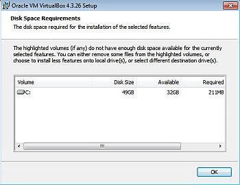 Требования к свободному дисковому пространству для VirtualBox