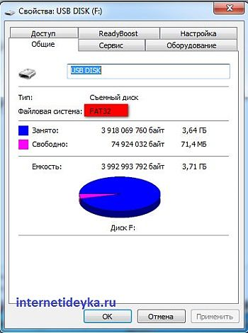 флешка на 4 Гб с файловой системой FAT32-4