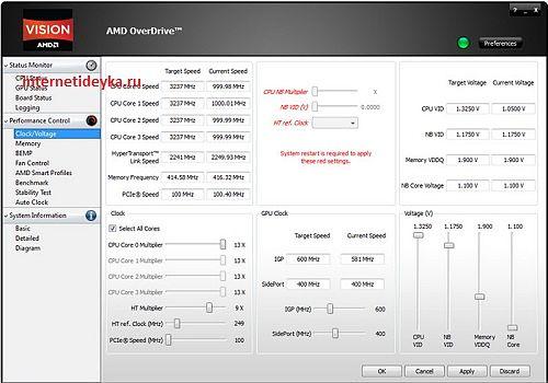 Интерфейс утилиты AMD OverDrive-7