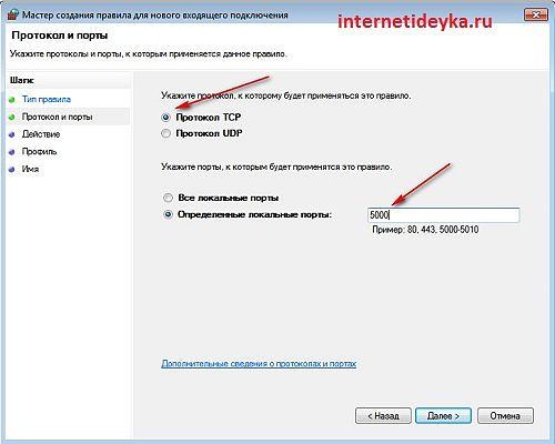 Определяем протокол и номер порта-13